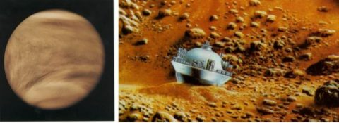 Left: Pioneer Venus Orbiter image of Venus taken in ultraviolet light to show the cloud formations. Right: Illustration of one of the Pioneer Venus Small Probes on the surface of Venus. (NASA)