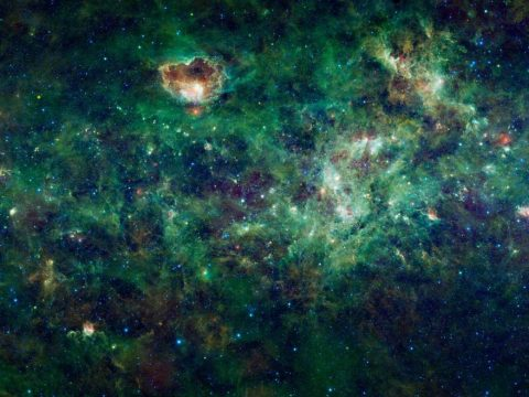 This enormous mosaic of the Milky Way galaxy from NASA's Wide-field Infrared Survey Explorer, or WISE, shows areas of interstellar space where dozens of dense clouds, called nebulas, are forming into new stars. (NASA)