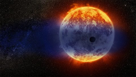 This artist's illustration shows a giant cloud of hydrogen streaming off a warm, Neptune-sized planet just 97 light-years from Earth. The exoplanet is tiny compared to its star, a red dwarf named GJ 3470. The star's intense radiation is heating the hydrogen in the planet's upper atmosphere to a point where it escapes into space. (NASA, ESA and D. Player (STScI))
