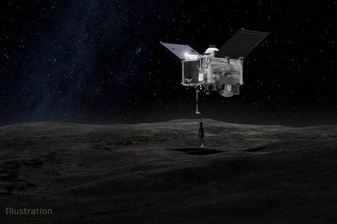 This artist's concept shows the Origins Spectral Interpretation Resource Identification Security - Regolith Explorer (OSIRIS-REx) spacecraft contacting the asteroid Bennu with the Touch-And-Go Sample Arm Mechanism or TAGSAM. The mission aims to return a sample of Bennu's surface coating to Earth for study as well as return detailed information about the asteroid and it's trajectory. (NASA's Goddard Space Flight Center)