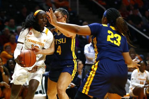 Tennessee Women's Basketball senior Meme Jackson scores 23 points to lead the Lady Vols to a 80-61 victory over East Tennessee State. (UT Athletics)