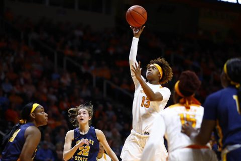 Tennessee Women's Basketball freshman Jazmine Massengill had a career high 10 points and 8 assists in win over Murray State Friday night at Thompson-Boling Arena. (UT Athletics)
