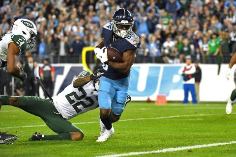 Tennessee Titans wide receiver Corey Davis (84) runs for the game-winning touchdown after a catch during the second half against the New York Jets at Nissan Stadium. (Christopher Hanewinckel-USA TODAY Sports)