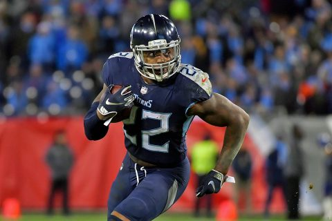 Tennessee Titans running back Derrick Henry (22) rushes against the Jacksonville Jaguars during the second half at Nissan Stadium. Tennessee won 30-90. (Jim Brown-USA TODAY Sports)