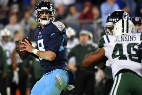 Tennessee Titans quarterback Marcus Mariota (8) drops back to pass during the second half against the New York Jets at Nissan Stadium. (Christopher Hanewinckel-USA TODAY Sports)