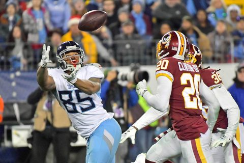 Tennessee Titans tight end MyCole Pruitt (85) reaches for the pass during the second half against Washington Redskins strong safety Ha Ha Clinton-Dix (20) at Nissan Stadium. Tennessee won 25-16. (Jim Brown-USA TODAY Sports)