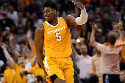 Tennessee Volunteers guard Admiral Schofield (5) celebrates a three point basket against the Gonzaga Bulldogs during the second half at Talking Stick Resort Arena. (Joe Camporeale-USA TODAY Sports)