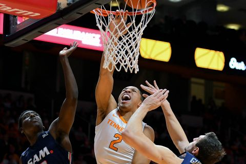 Tennessee Volunteers forward Grant Williams (2) dunks the ball against Samford Bulldogs guard Brandon Austin (0) and Samford Bulldogs center Ruben Guerrero (32) during the second half at Thompson-Boling Arena. (Randy Sartin-USA TODAY Sports)