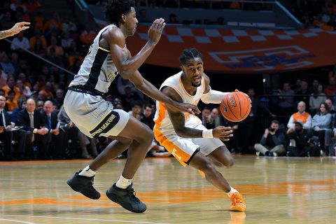 Tennessee Volunteers guard Jordan Bone (0) moves the ball against Wake Forest Demon Deacons forward Jaylen Hoard (10) during the second half at Thompson-Boling Arena. Tennessee won 83 to 64. (Randy Sartin-USA TODAY Sports)