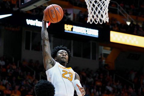 Tennessee Volunteers guard Jordan Bowden (23) dunks the ball against the Texas A&M-CC Islanders during the first half at Thompson-Boling Arena. (Randy Sartin-USA TODAY Sports)