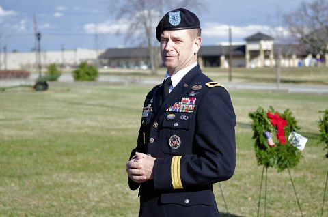 U.S. Army Brig. Gen. K. Todd Royar, acting senior commander of the 101st Airborne Division (Air Assault) and Fort Campbell, Kentucky, speaks to volunteers, Saturday, Dec. 15, 2018, after they placed 101 wreaths on the fence at T.C. Freeman Gate, Fort Campbell's main gate. (Mari-Alice Jasper, Fort Campbell Courier)