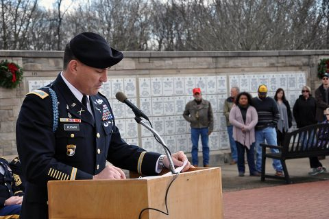 U.S. Army Col. Joseph. P. Kuchan, Fort Campbell, Kentucky, garrison commander, speaks, Saturday, Dec. 15, 2018, during a Wreaths Across America remembrance wreath-laying ceremony at Kentucky Veterans Cemetery-West, Hopkinsville, Kentucky, were U.S. Army Soldiers of the 101st Airborne Division (Air Assault) Honor Guard – Sgt. Thomas Ellis, Spc. David West, Pfc. Matt Wilson, Spc. Cordell Smith and Spc. Christian Chacon. (Maria Rice McClure, Fort Campbell Courier/Fort Campbell Public Affairs)