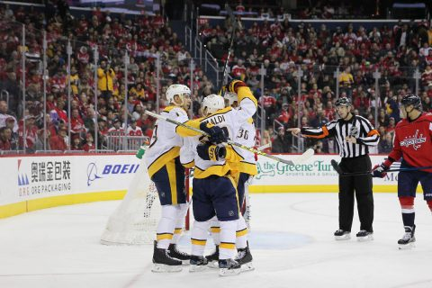 Nashville Predators center Rocco Grimaldi (23) celebrates with teammates after scoring a goal against the Washington Capitals during the first period at Capital One Arena. (Amber Searls-USA TODAY Sports)