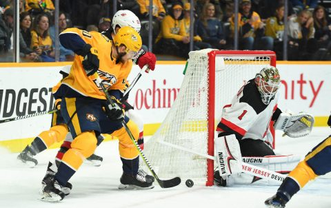 Dec 15, 2018; Nashville, TN, USA; Nashville Predators right wing Miikka Salomaki (20) has a shot blocked by New Jersey Devils goaltender Keith Kinkaid (1) after a shot during the first period at Bridgestone Arena. Mandatory Credit: Christopher Hanewinckel-USA TODAY Sports