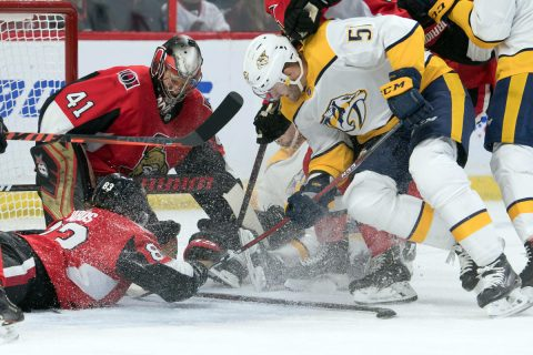 Nashville Predators left wing Austin Watson (51) battles for the puck in front of Ottawa Senators goalie Craig Anderson (41) in the second period at the Canadian Tire Centre. (Marc DesRosiers-USA TODAY Sports)