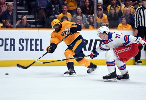 Nashville Predators defenseman P.K. Subban (76) attempts a shot during the first period against the New York Rangers at Bridgestone Arena. (Christopher Hanewinckel-USA TODAY Sports)