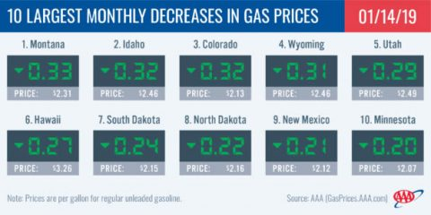 10 Largest Monthly Decreases in Gas Prices - January 14th, 2019