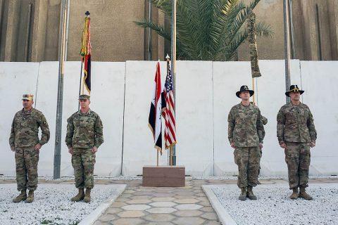 U.S. Army Command Sgt. Maj. Wray Gabelmann, 1st Brigade Combat Team, 101st Airborne Division, sergeant major, Col. Derek Thomson, 1st Brig., 101st Division commander, Col. Jonathan Byrom, commander of 3rd Cavalry Regiment, and Command Sgt. Maj. Adam Nash, 3rd Cav. Regt. sergeant major, complete the transfer of authority between 3rd Cav. Regt. and 1st Brig., 101st Division, in Baghdad, Iraq, Jan. 23, 2019. (Capt. Jason Welch, 3rd Cavalry Regiment Public Affairs Office)
