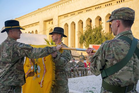 U.S. Army Command Sgt. Maj. Adam Nash, 3rd Cavalry Regiment sergeant major, and Col. Jonathan Byrom, commander of 3rd Cav. Regt., case the regimental colors during the transfer of authority ceremony between 3rd Cav. Regt. and 1st Brigade Combat Team, 101st Airborne Division, in Baghdad, Iraq, Jan. 23, 2019.(Capt. Jason Welch, 3rd Cavalry Regiment Public Affairs Office)