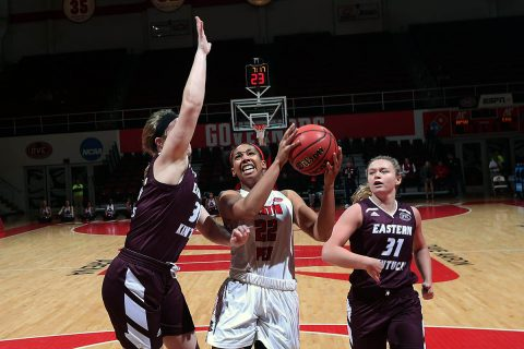 Austin Peay Women's Basketball senior guard Keisha Gregory went 3 for 4 from behind the arch against Eastern Kentucky, Thursday. (APSU Sports Information)