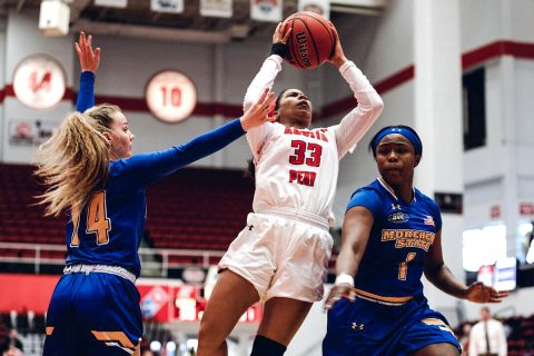 Austin Peay Women's Basketball holds off Morehead State for 81-80 win at the Dunn Center, Saturday. (APSU Sports Information)