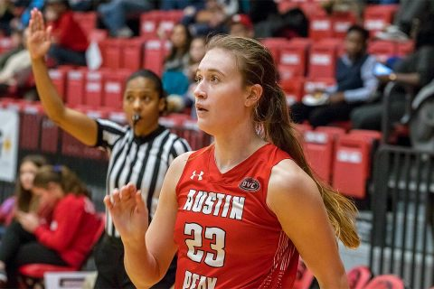 Austin Peay Women's Basketball freshman Maggie Knowles had 10 points in loss at SIU Edwardsville. (APSU Sports Information)