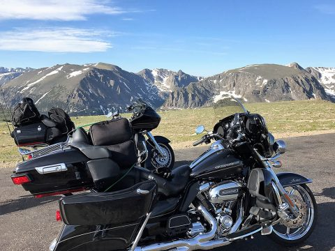 A couple of Harleys in the Rocky Mountains
