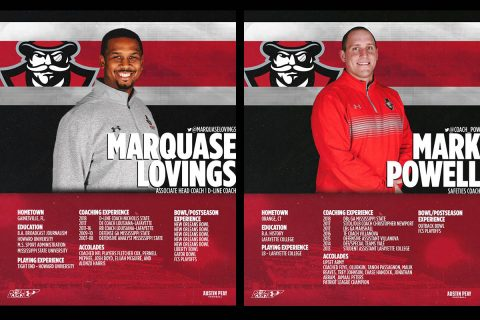 APSU Football coaches Marquase Lovings and Mark Powell