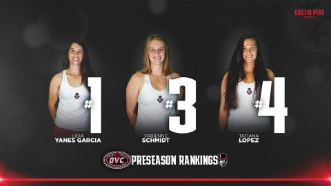 Austin Peay Women's Tennis players Lidia Yanes Garcia, Fabienne Schmidt, Tatiana Lopez selected OVC Preseason Top 10. (APSU Sports Information)