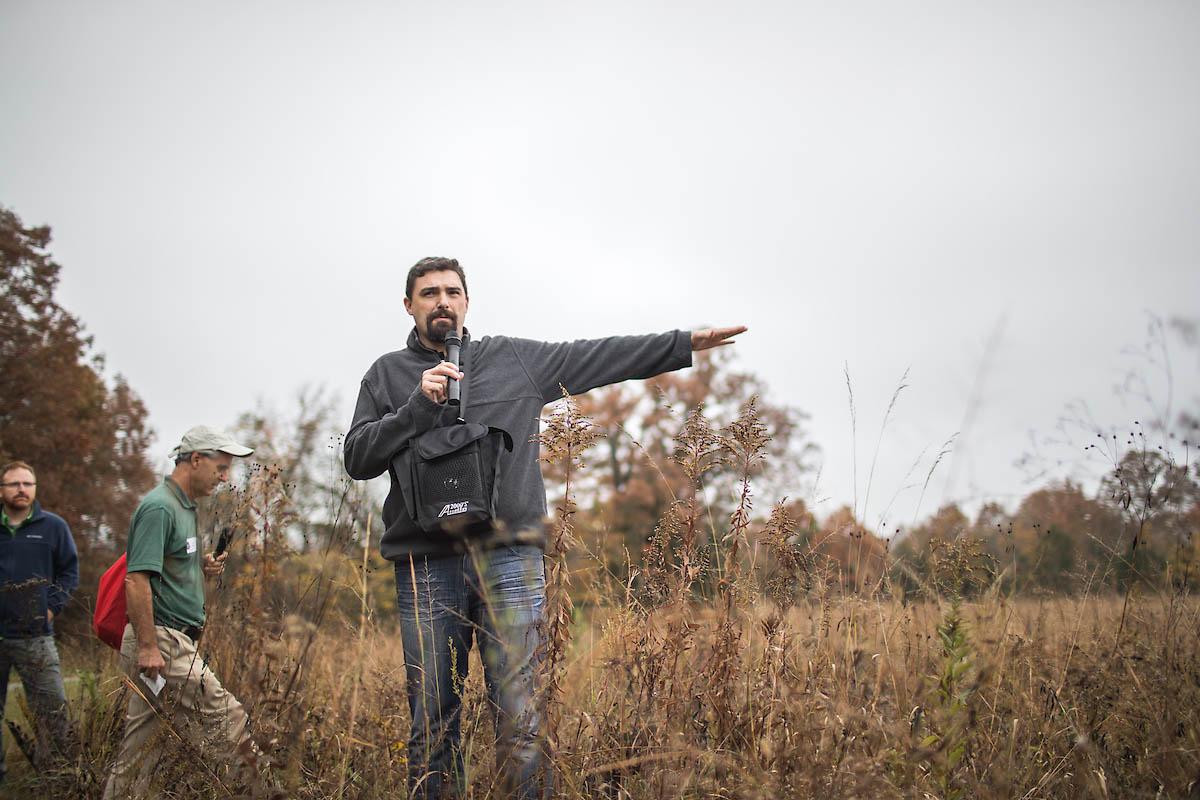 Dr. Dwayne Estes, SGI director, gives a tour of local grasslands in 2017. (APSU)