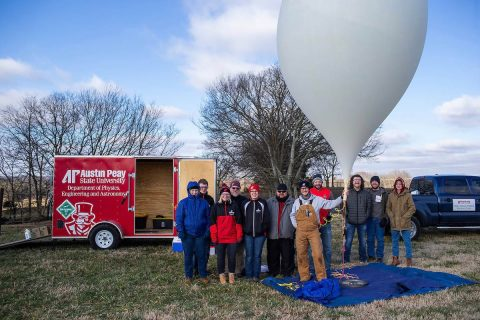 The team launched the balloon at 9:52am January 24th from the Austin Peay State University Farm and Environmental.