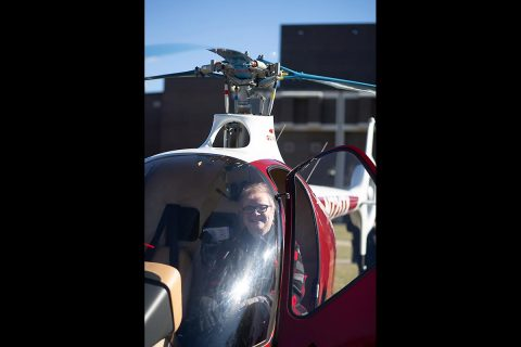 Austin Peay State University President Alisa White sits in the cockpit of GOV 1, the University's first helicopter in its rotor-wing fleet.