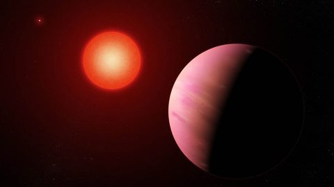 The newfound planet K2-288Bb, illustrated here, is slightly smaller than Neptune. Located about 226 light-years away, it orbits the fainter member of a pair of cool M-type stars every 31.3 days. (NASA's Goddard Space Flight Center/Francis Reddy)