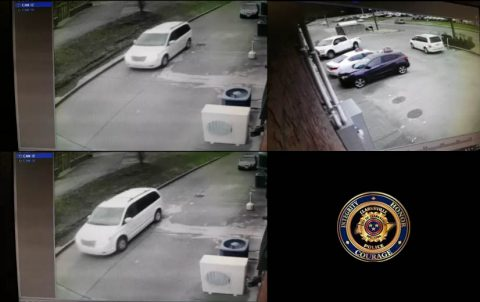 The vehicle burglary suspects were driving a white 2000s model Town and Country Van.