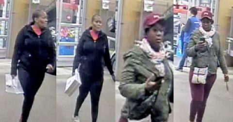 Clarksville Police are trying to identify the women in these photos for using a women's personal information to buy phones.