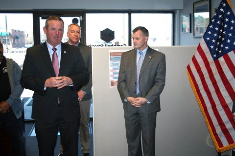 Montgomery County Mayor Jim Durrett speaks Tuesday at a gathering celebrating Fort Campbell Strong's first year and dedicating its new offices.