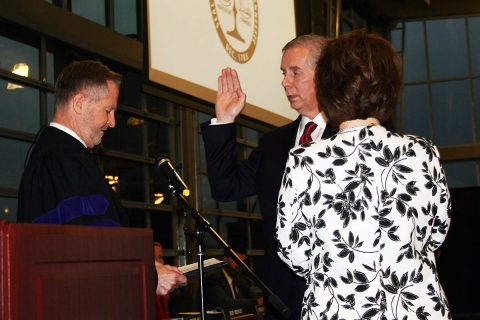 City of Clarksville's new mayor Joe Pitts was sworn in Wednesday.