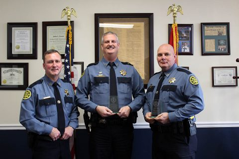 (L to R) Montgomery County Sheriff John Fuson, Sergeant Jeffrey Morlock and Captain Ron Farley.