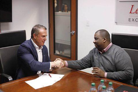 Austin Peay's new head football coach (left) Mark Hudspeth and APSU Athletics Director (right) Gerald Harrison. (APSU Sports Information)