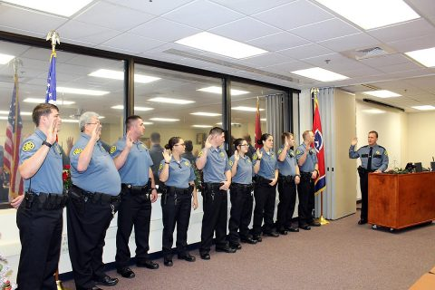 Montgomery County Sheriff's Office's Travis Cioffi, Austin Hedrick, Brianna Hesson, Carter Jonagan, Jonathan Law, Rachel Milliken, Max Morris III, Franklin Peterson, Keith Vandemark, and Issac Woolley on their completion of the Detention Services Bureau Field Training Officers (FTO) Program. Montgomery County Sheriff's Office graduate from Detention Services Bureau Field Training Officers program Tennessee Law Enforcement Training Academy.