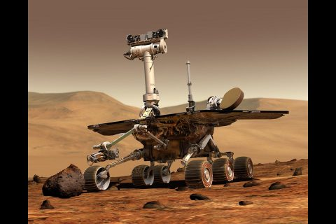 An artist's concept portrays the NASA Mars Opportunity Rover on the surface of Mars. (NASA/JPL/Cornell University)