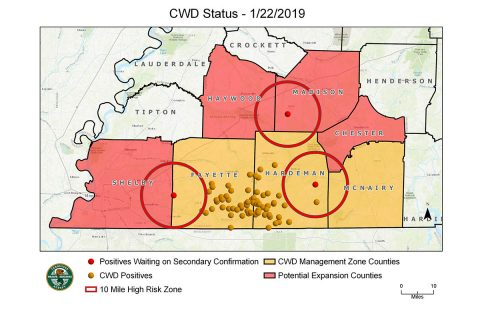 TWRA Releases CWD Map - January 22nd 2019