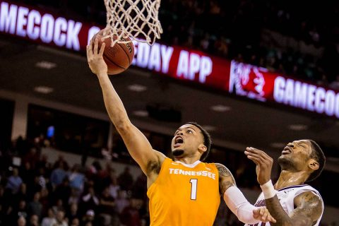 Tennessee Volunteers guard Lamonte Turner (1) drives around South Carolina Gamecocks forward Chris Silva (30) in the first half at Colonial Life Arena. (Jeff Blake-USA TODAY Sports)
