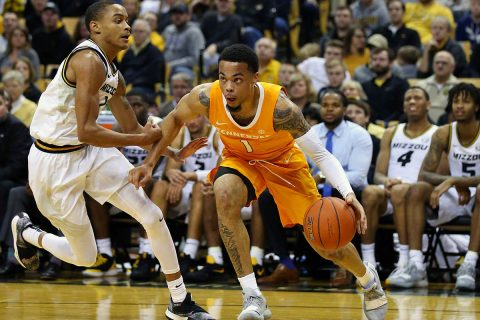 Tennessee Volunteers guard Lamonte Turner (1) drives to the basket against Missouri Tigers guard Xavier Pinson (1) in the first half at Mizzou Arena. (Jay Biggerstaff-USA TODAY Sports)