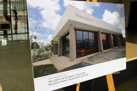 A rendering of the APSU Military Family Resource Center with the proposed Newton name.
