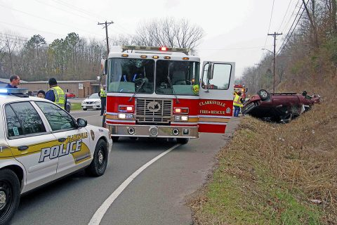 Clarksville Police work an accident at the intersection of Ashland City Road, East Old Ashland City Road that sent two to the hospital. (Jim Knoll, Clarksville Police Department)