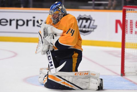 Nashville Predators goaltender Juuse Saros (74) makes a save during the second period against the Philadelphia Flyers at Bridgestone Arena. (Christopher Hanewinckel-USA TODAY Sport)