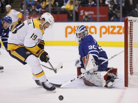 Toronto Maple Leafs goaltender Michael Hutchinson (30) makes a save against Nashville Predators forward Calle Jarnkrok (19) during the first period at Scotiabank Arena. (John E. Sokolowski-USA TODAY Sports)