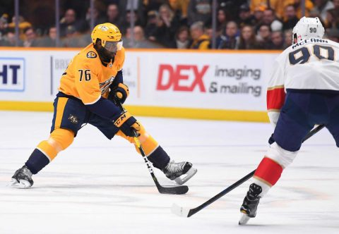 Jan 19, 2019; Nashville, TN, USA; Nashville Predators defenseman P.K. Subban (76) skates the puck into the offensive zone during the first period against the Florida Panthers at Bridgestone Arena. Mandatory Credit: Christopher Hanewinckel-USA TODAY Sports