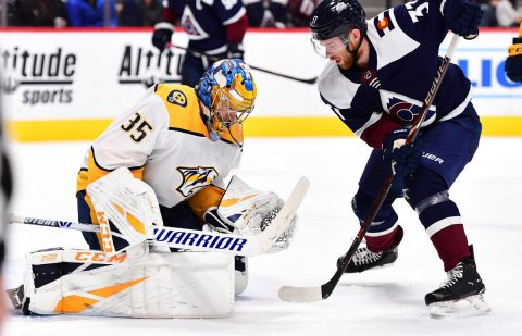 Jan 21, 2019; Denver, CO, USA; Colorado Avalanche left wing J.T. Compher (37) attempts on Nashville Predators goaltender Pekka Rinne (35) in the second period at the Pepsi Center. Mandatory Credit: Ron Chenoy-USA TODAY Sports